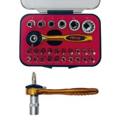 "ADCKM-901B - Kit mini carraca 1/4"" 36 dientes, aluminio (27 piezas) custor"
